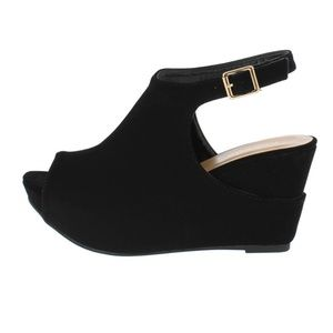 CLOSEOUT!  Black Suede Wedge